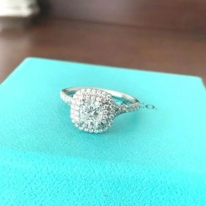 Tiffany & Co Soleste Double Halo Diamond Ring 1.07